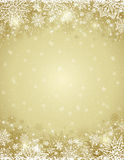 Beige christmas background with  frame of snowflakes and stars Royalty Free Stock Photo