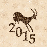 Beige christmas background with goat - vector. Beige christmas background with goat and 2015 - vector stock illustration