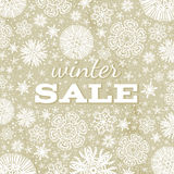 Beige christmas background with snowflakes and off Royalty Free Stock Image