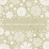 Beige christmas background with snowflakes,  vecto Stock Images