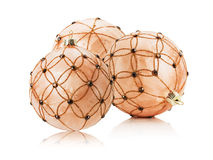 Beige Christmas balls isolated on the white background Stock Photos