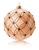 Beige Christmas balls isolated on the white background Royalty Free Stock Image