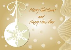 Beige christmas card with christmas ball paper cut. Inscription Merry Christmas and Happy New Year. Wavy motif and stars. On gradient background. Place for own royalty free illustration