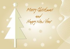 Beige christmas card with christmas tree paper cut. Inscription Merry Christmas and Happy New Year. Wavy motif and stars. Gradient background with place for stock illustration