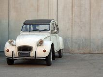 Beige Citroen 2cv. A beige Citroen 2cv from the 80's royalty free stock images