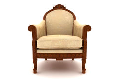 Beige classic armchair isolated on white Royalty Free Stock Photography