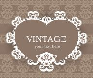 Beige classic frame. Vintage background. Elegant design element template with place for your text. Lace decoration for birthday greeting card, wedding Stock Images