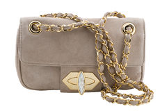 Beige clutch bag Stock Photography