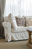 Beige color sofa and pillows in living room Royalty Free Stock Photo