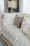 Beige color sofa and pillows in living room Royalty Free Stock Image