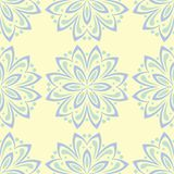 Beige colored floral seamless pattern. Background with light blue and green flower elements. For wallpapers, textile and fabrics Royalty Free Stock Image