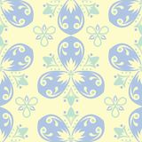 Beige colored floral seamless pattern. Background with light blue and green flower elements. For wallpapers, textile and fabrics Stock Photo