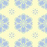 Beige colored floral seamless pattern. Background with light blue and green flower elements. For wallpapers, textile and fabrics Royalty Free Stock Images
