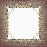 Beige cotton rope frame and a card Royalty Free Stock Photo