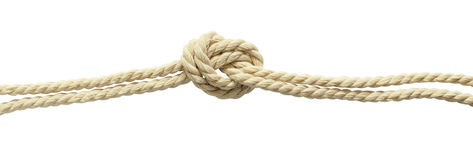 Beige cotton rope knot Royalty Free Stock Photos