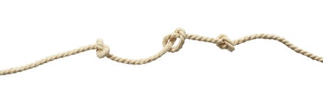 Beige cotton rope with knots Royalty Free Stock Image