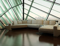 Beige couch against extravagant design window. Image of Beige couch against extravagant design window Stock Photo