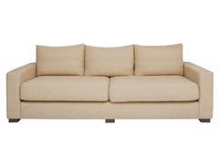 Beige Couch auf Weiß Stockbilder