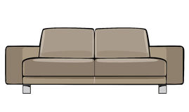 Beige Couch der Vektorkarikatur lokalisiert auf Weiß Stockfotografie