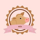 Beige cow head milk label Stock Photos