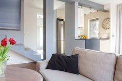 Beige cozy interior royalty free stock photos