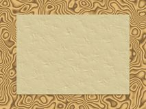 Beige crumpled paper on wood background Royalty Free Stock Images