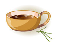 Beige cup with big handle and hot herbal tea inside. Isolated cartoon vector illustration on white background. Convenient mug with delicious healthy beverage Royalty Free Stock Photography