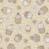 Beige cupcake naadloos patroon Stock Foto's