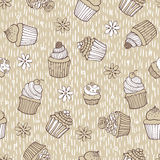 Beige cupcake seamless pattern Stock Photos