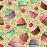 Beige Cupcakepatroon, Stock Afbeelding