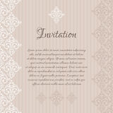 Beige damask invitation blank Royalty Free Stock Photography