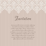 Beige damask invitation blank Stock Image