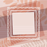 Beige decorative background with frame, vector.  Royalty Free Stock Photos