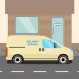 Beige delivery Van Stock Photo