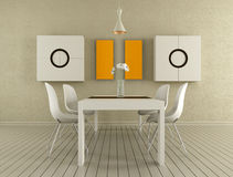 Beige dining room Stock Photos