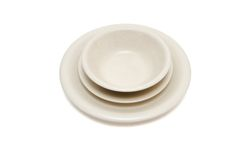 Beige dinner plate, soup plate and  saucer i Stock Photo