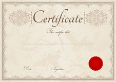 Beige Diploma / Certificate background and border. Horizontal beige certificate of completion (template) with guilloche pattern (watermarks), border and red wax Royalty Free Stock Photo