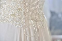 Beige dress with corset Royalty Free Stock Images