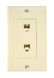 Beige dual outlet telephone plug Stock Image