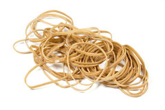 Beige Elastic Bands Stacked in a Pile Stock Image