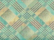 Beige en blauw zacht geruite Schotse wollen stof. Stock Afbeeldingen
