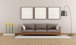 Beige en bruine moderne zitkamer vector illustratie