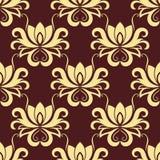Beige en purper bloemen naadloos patroon Royalty-vrije Stock Fotografie