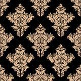 Beige en zwart naadloos bloemenpatroon Stock Fotografie