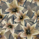 Beige fantasy lilly floral seamless pattern Royalty Free Stock Images