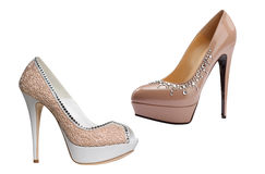 Beige fashion shoes Stock Image