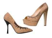 Beige fashion shoes Stock Photo