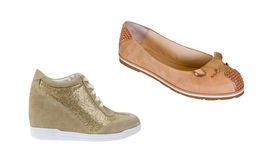 Beige fashion shoes Royalty Free Stock Photo