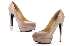 Beige fashion shoes Stock Photo