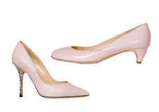 Beige fashion shoes Royalty Free Stock Images